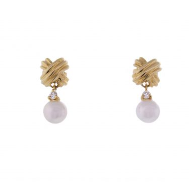 Tiffany Co Signature X Pearl Drop Earrings